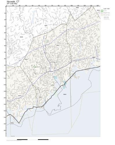 Amazon.com: ZIP Code Wall Map of Norwalk, CT ZIP Code Map Not ...