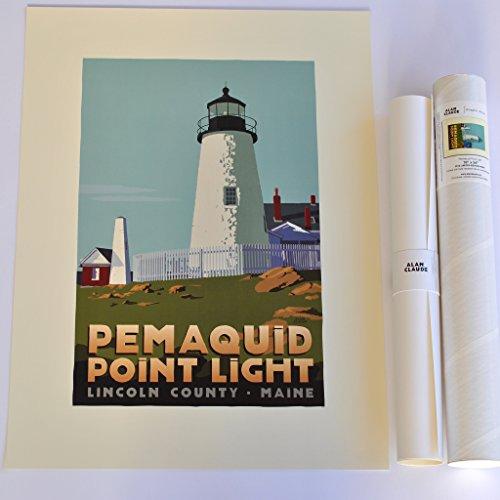 Pemaquid Point Light, Maine Print (18x24 Lighthouse Travel Poster, Wall Decor Art)