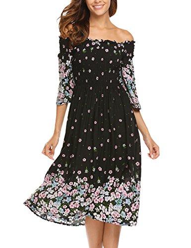 07afd5ba17 Misakia Women Summer Boho Off Shoulder Long Maxi Casual Dresses Slit Split  (Black, S