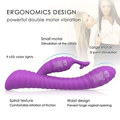 Silicone G-Spot Rabbit Vibrator Dildo with Powerful Dual Motor, Bestimulus Waterproof Rechargeable Vagina Clit Stimulator Wand Massager for Women and Couples (Purple)