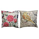Monkeysell Set of 2 Birds Pattern Cotton Linen Decorative Throw Pillow Case Sofa Car Pillow Cushion Cover (About 18 Inches Square)