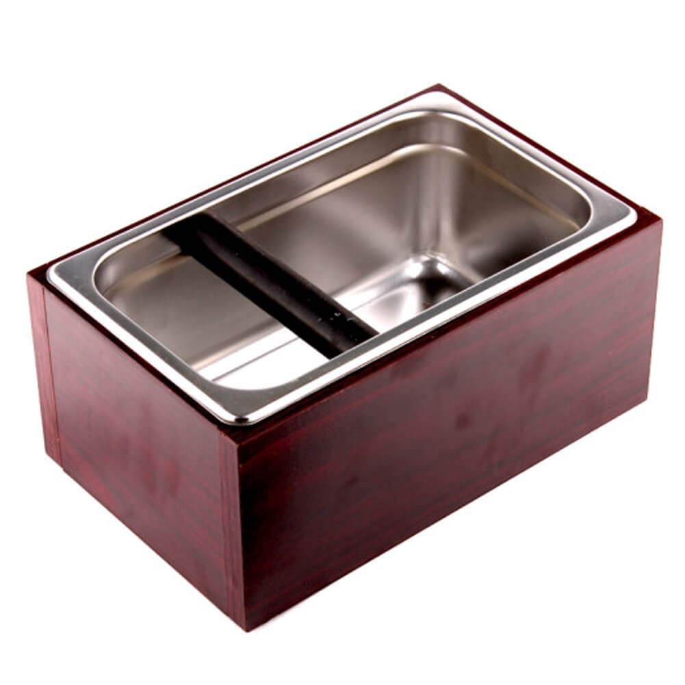 Coving Stainless Steel Knock Box Espresso Dump Bin with Wooden Case Set - 6.8 x 10.8 x 4.7 inch, Large by Coving