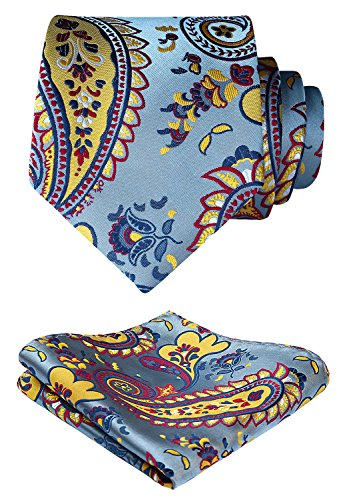 - HISDERN Paisley Wedding Tie Handkerchief Woven Classic Men's Necktie & Pocket Square Set Blue & Yellow & Red