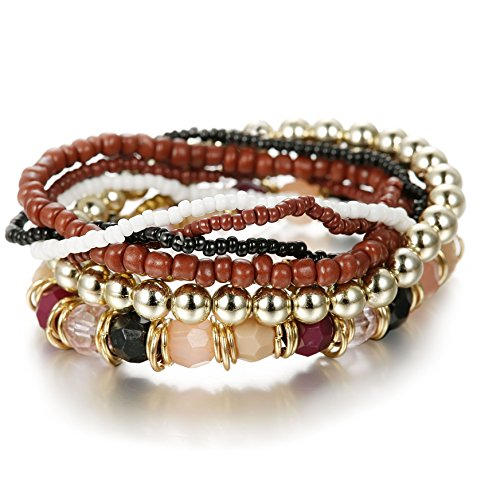 Besteel 7 PCS Boho Jewelry Beaded Bracelets for Women Men