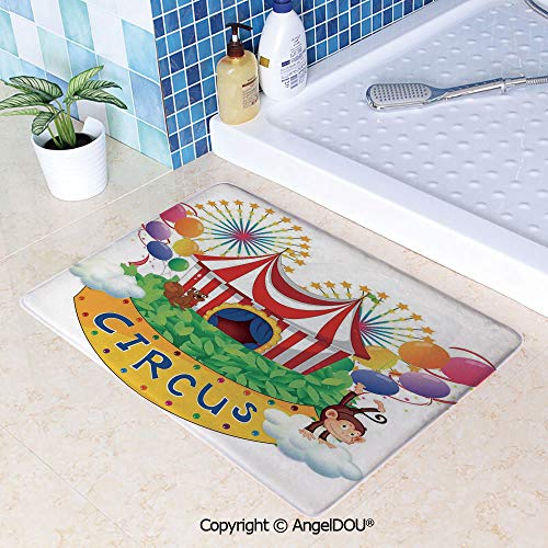 SCOXIXI Printed Non Slip Entry Door Mat Bathroom Carpet Carnival with a Circus Signboard Cirque Leaves Plants Fireworks Monkey Area Rugs for Dining Room Living Room Kitchen.W31.5xL47.2(inch)
