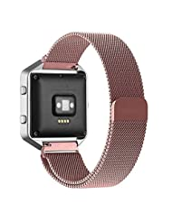 Fitbit Blaze Accessories Band TOOPOOT Milanese Magnetic Loop Stainless Steel Bands For Fitbit Blaze (pink)