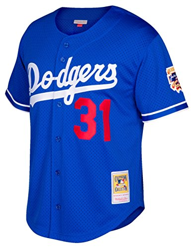 Mike Piazza Blue Los Angeles Dodgers Authentic Mesh Batting Practice Jersey XXL (52)