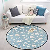 White Bear Carpet Rugs Nordic Style Living Room Bedroom Soft Thicken Round Carpets for Children Anti-Slip Carpet 80-140CM R588