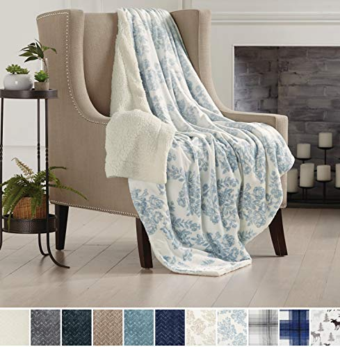 Home Fashion Designs Premium Reversible Two-in-One Sherpa and Sculpted Velvet Plush Luxury Blanket. Fuzzy, Cozy, All-Season Berber Fleece Throw Blanket Brand. (Toile Blue)