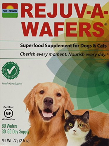 Sun Chlorella- Rejuv-A-Wafers- Chlorella & Eleuthero Superfood Supplement For Dogs And Cats- 60 Wafers (3 Pack)