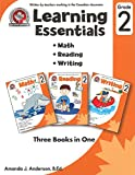 Learning Essentials Grade 2: Math, Reading, Writing, Three Books in One: Written