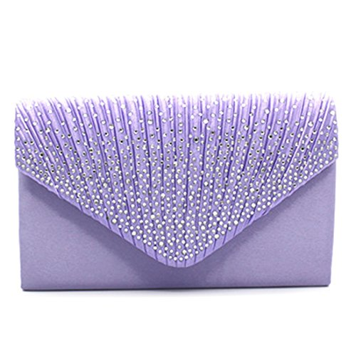 Viola Shoulder Frosted Evening Rhinestone Handbag Women Wedding Party Purse Bridal for Bag Pleated Clutch Clutch Envelope Bags g6xqzaTSg