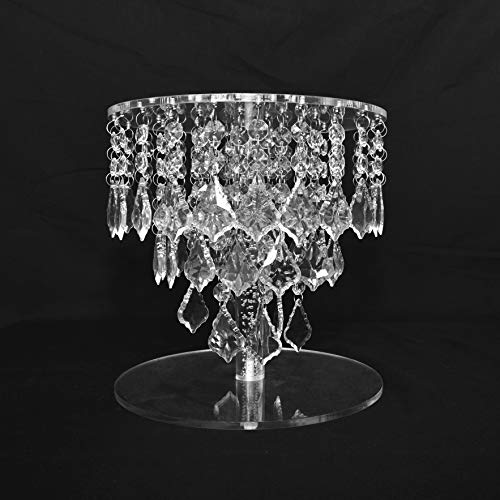 Butterflyevent Wedding Crystal Round Bling Chandelier Cake Stand Transparent Cascading Cupcake Stand Wedding Party Cake Tower Disaplay Centerpieces Decoration