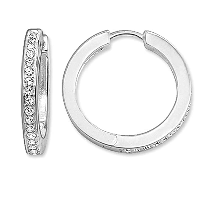 b203d9a0c2991 Amazon.com: White Cz Pave Large Creole Hinged Hoop Earrings 2019 ...