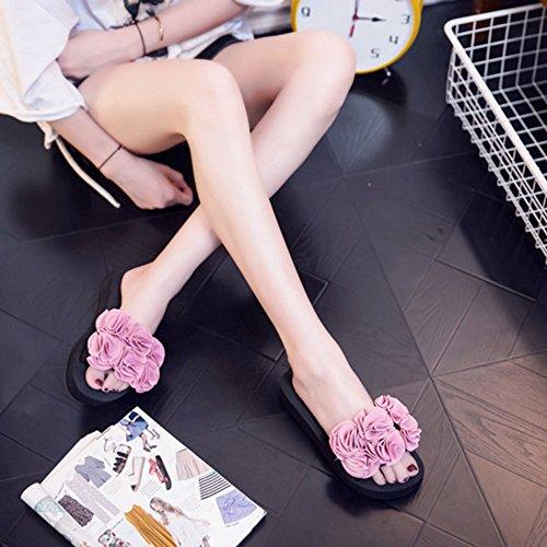 de Femmes Sandales Pantoufles Flat d'Eté Slipper Fleurs pink pour Slide 5qUCP41wx