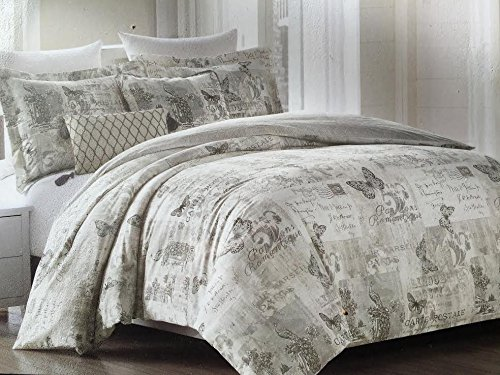 Cynthia Rowley Queen Full Duvet Cover Set, Postcard Butterfly Grey