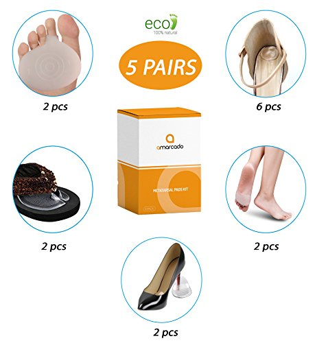 Running Free Inserts (Metatarsal Pads Kit Men and Women - 14 pcs - 5 Pairs of Varying Pad Styles Ball of Foot Pain, Plantar Fasciitis, Mortons Neuroma and Other Foot Pain Problems - Foot Cushions, Shoe Inserts by Amarcado)