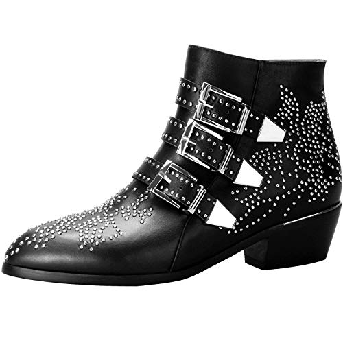 Boots for Women,Women's Leather Boot Rivets Studded Shoes Metal Buckle Low Heels Ankle Studded Booties Black Silver 6 Size