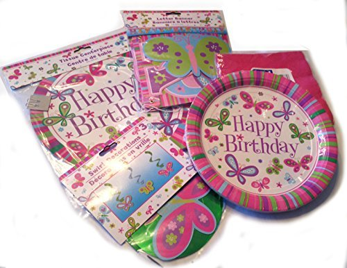 Artfully Blessed Pretty Pink Butterly Birthday Party Pack - 5 Item Bundle -
