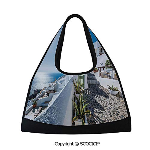 Badminton bag,Ancient Oia Village in Santorini Island Greece with Aegean Sea Scenery Image,Bag for Women and Men(18.5x6.7x20 in) Blue and White
