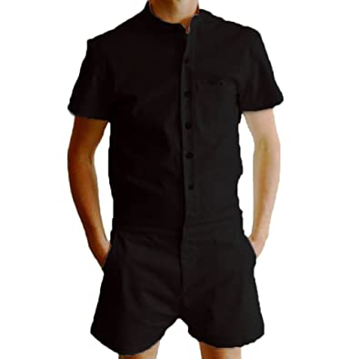3cfcbb940b1a Men s Short Sleeve One Piece Jumpsuit - Casual Fashion Stand Collar Slim  Fit Romper with Buttons