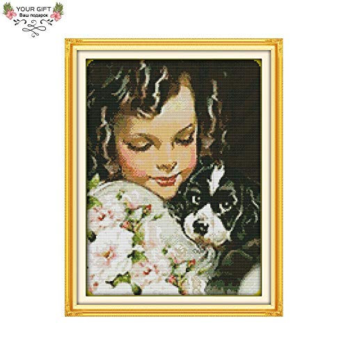(Zamtac Counted and Stamped Dog and Girl Needlepoints Embroidery Cross Stitch Kits for Home Decoration R405 - (Cross Stitch Fabric CT Number: 11CT Stamped Product))