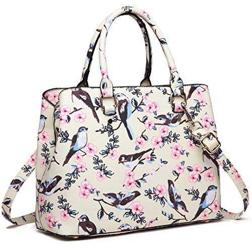 Top Pattern Lulu Beige Birds Flower Handle Handbag Trendy Miss for Multi 16j Bags Women Compartments 1755 New A8qEaxw
