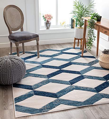 (Well Woven Mandy Blue Modern Geometric Zigzag Stripes Pattern Area Rug 5x7 (5'3
