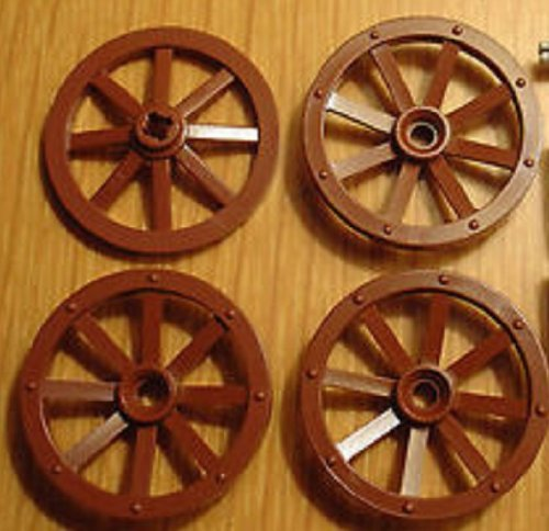 Lego Parts: Large Reddish Brown Wagon Wheels (Set of 4)