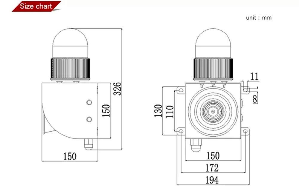 Wireless Remote Control Alarm Siren Industrial Sound Light Alarm Security Siren Horn Alarm Waterproof Emergency Strobe Warning Light 120dB Outdoor AC 110V