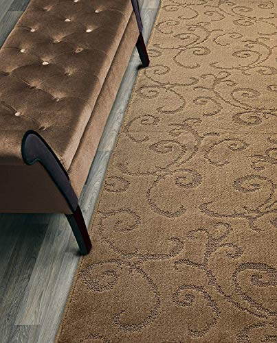 Custom Length Hallway Runner Rug,Slip Resistant,Scroll Brownish Beige, 26 Inch X 3 feet, Doormat, Sold and Priced Per Foot