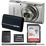 : Canon PowerShot ELPH 180 Digital Camera (Silver) with 32GB Memory + Case
