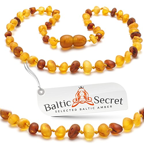Amber Teething Necklace Unpolished, Raw Amber Beads - Extra Safe Lab Tested & Certified, 50% Richer and More Effective, Teething Pain & Drooling Reduce Properties/2LH.U-BRQ/29.5CM 11.6IN
