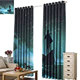Xlcsomf Soundproof Curtain Ocean Free from Sunlight Man Rowing Boat in Sea Under Majestic Foggy Sky...