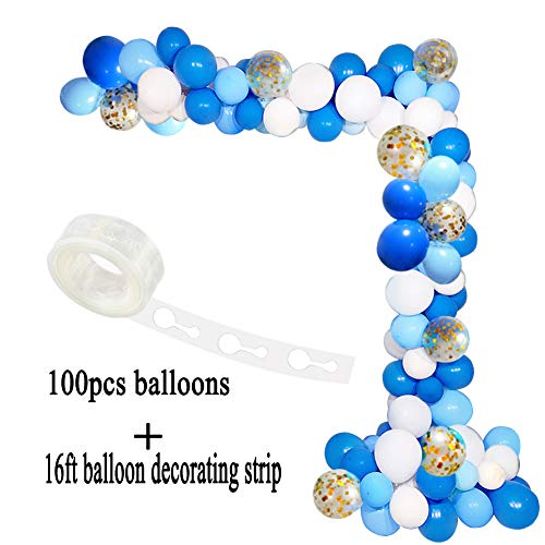 CREATEASY Blue Balloon Arch Garland Kit White Gold Confetti Balloons Garland Decorating Strip Royal Baby Shower Wedding Birthday Party Decorations]()