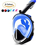 Seaview 180 Snorkel Mask with GoPro Mount, Full Face Snorkeling Mask Set, Design with Double Breath Space, Anti-Leak and Anti-Fog Technology Mouthpiece-Free Easybreath Perfect Mask for Adults and Kids