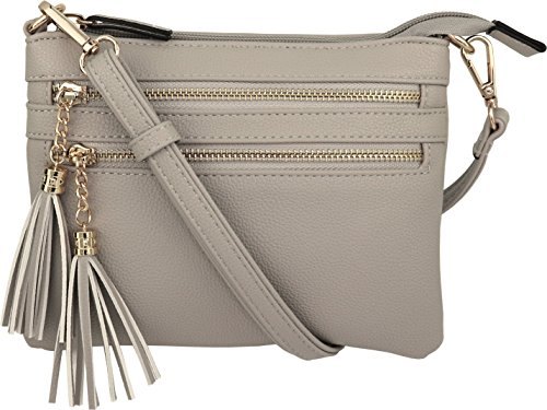 Clutch Vegan Leather - Vegan Mini Multi-Zipper Crossbody Handbag Purse with Tassel Accents (Gray)