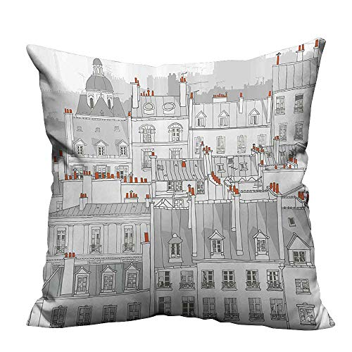 Ali Ro Silk - YouXianHome Home Decor Pillowcase Aerial View Illustr ion Ro s tics Paris City European Durable Polyester Fabric(Double-Sided Printing) 31.5x31.5 inch