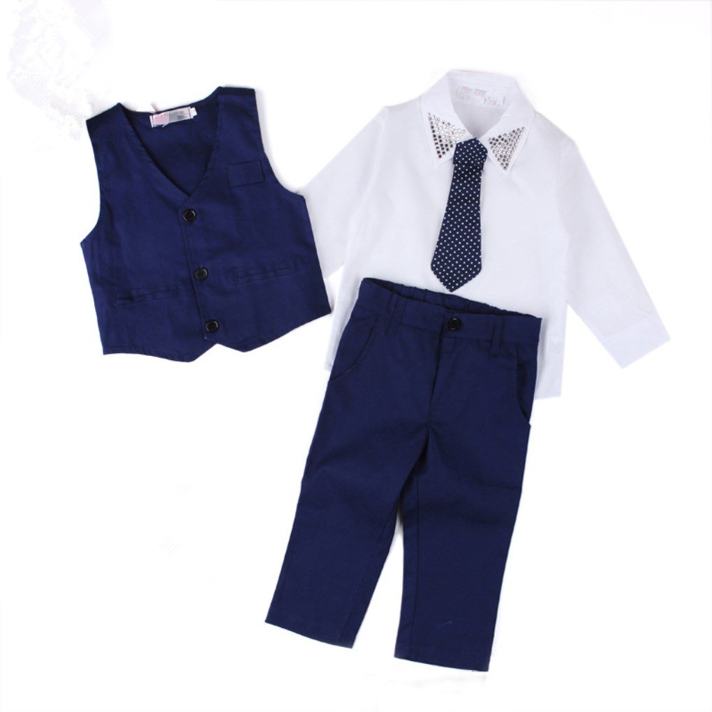 Face Dream 4pcs Kids Boy Formal Suit Set With Shirt Vest Tie Pants Gentleman Tuxedo Outfits