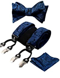 Alizeal Mens Adjustable Floral Paisley Self-tied Bow Tie, Pocket Square and Elastic Y Shape 6 Clips Suspenders Set, Navy