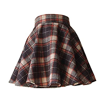 LifeWheel Winter Maiden Woolen Plaid Skirt/Womens Lady Sweet Short Princess Dress/Pleated School Uniform Skirt