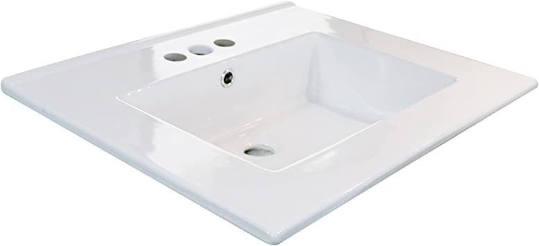 Eclife 24 Drop In Rectangle 3 Holes White Ceramic Bathroom Sink Top With Overflow Under Counter Console Sink T01 Amazon Com