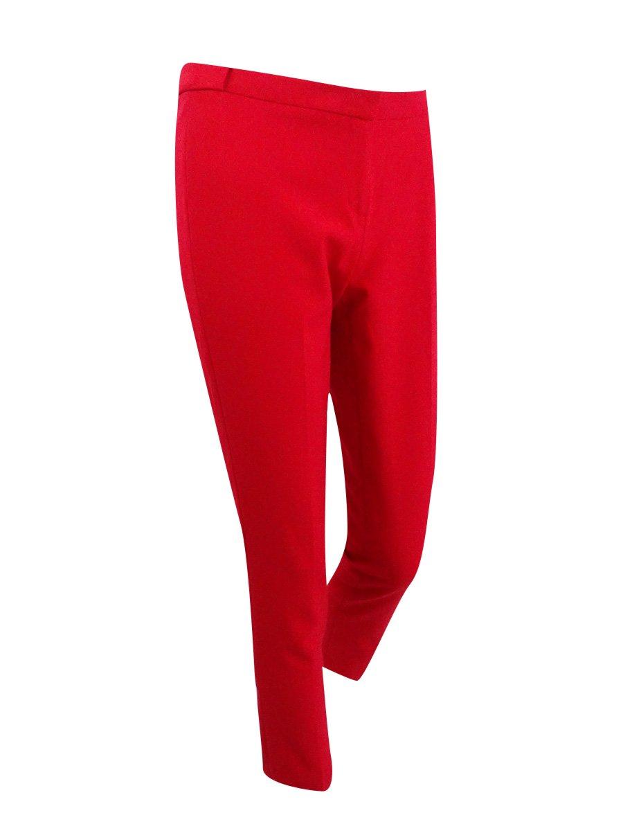 Calvin Klein Womens Petites High-Rise Pleated Straight Leg Pants Red 14P