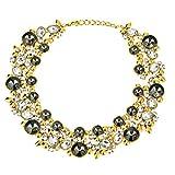 HONEYJOY Women Fashion Retro Design Unique Temperament Pendant Double-Layer Crystal Necklace(black)