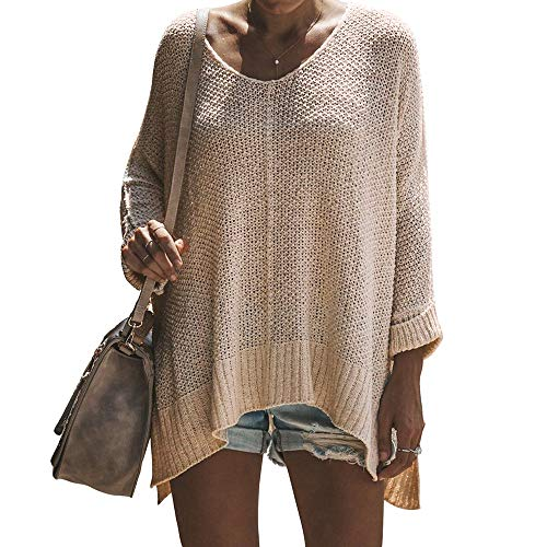 (Exlura Women's Off Shoulder Casual V Neck Sheer Loose Oversized Pullover Sweater High Low Knitted Jumper Light Beige)