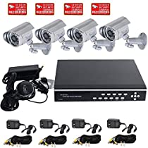 VideoSecu 4 Channel Stand Alone Security Surveillance DVR Digital Video Recorder System Including 4 Outdoor Infrared CCD Security Cameras, 4 Extension Cables, 4 Power Supplies and 2TB Hard Drive WP2