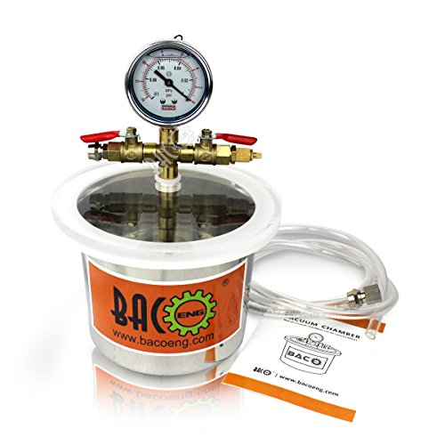BACOENG 2 Quart Stainless Steel Vacuum Chamber Silicone Kit for Degassing Resins, Silicone and Epoxies