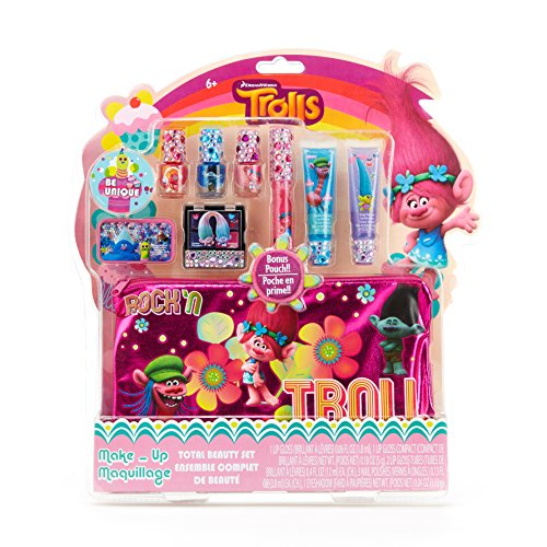 Townley Girl Dreamworks Trolls Total Beauty Set for Girls, Lip Gloss, Nail Polish, Eye Shadow, Zippered Bag