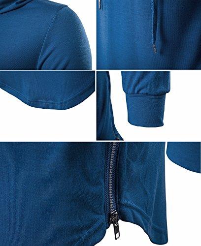 Ai Casual Felpa maniche cappuccio Felpa cappuccio Pullover Uomo T Tops con Shirt moichien Hooded con Vest lunghe shirt Blue Felpa xxpfvw