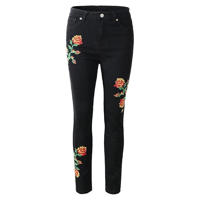 Mujer Jeans Skinny Pantalones Bordados Pequeños Pies ...
